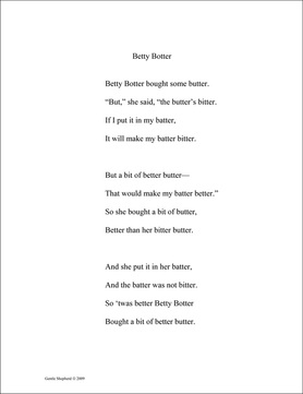 Typing Practice Pages Betty Botter example page