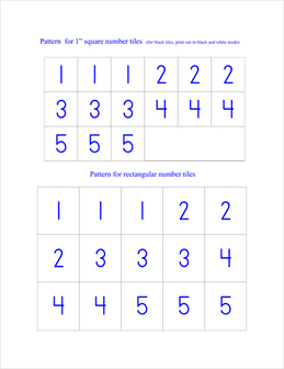 Counting Cards example page -- numbers 1 - 5